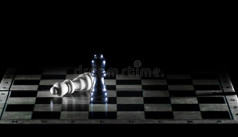 棋盘的黑白国王 胜利的概念 图库摄影