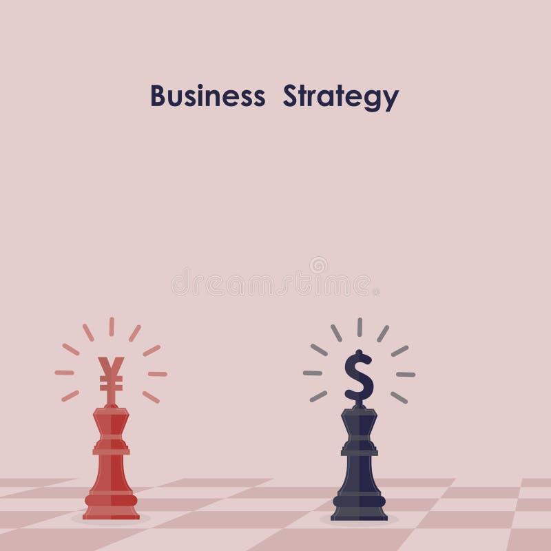 棋经营战略blackground的蓝色和红色国王 的元 向量例证