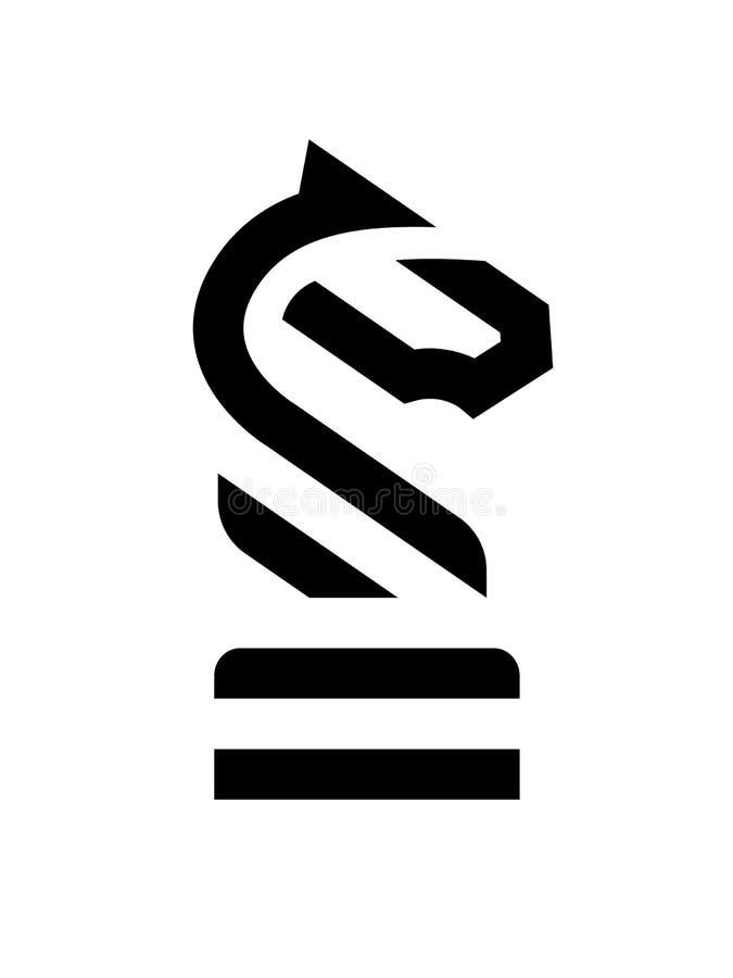 棋骑士马线性商标 也corel凹道例证向量 皇族释放例证
