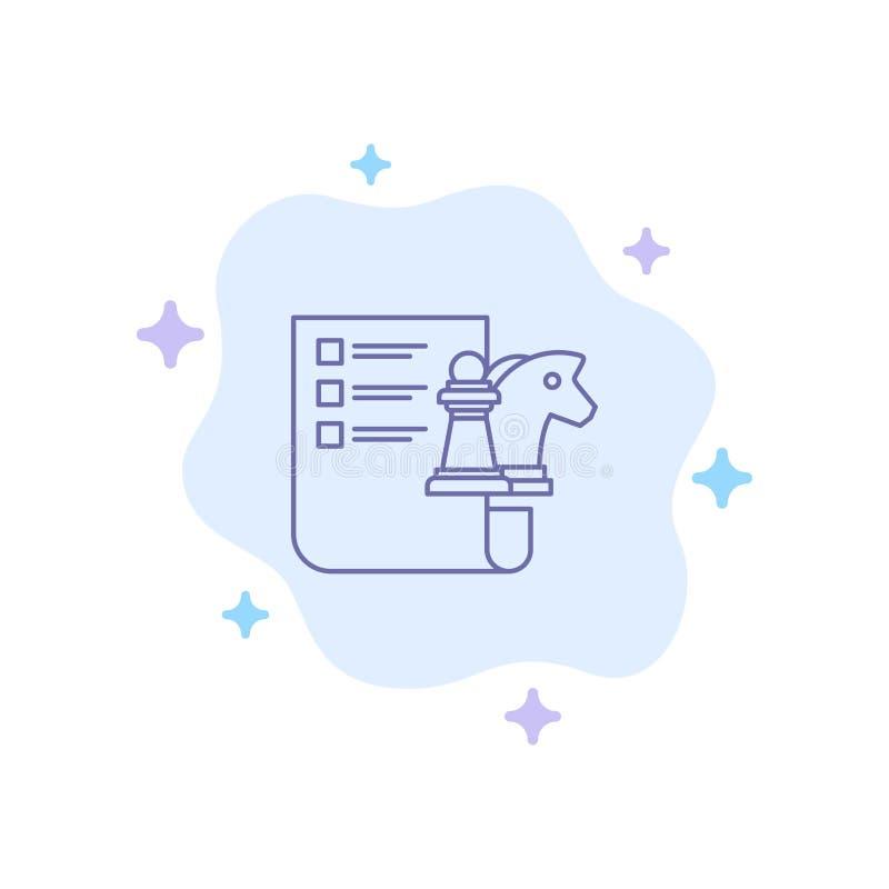 棋,事务,战略,在抽象云彩背景的计划的蓝色象 库存例证