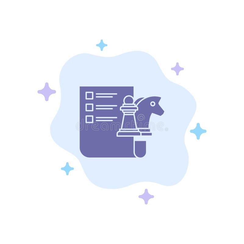 棋,事务,战略,在抽象云彩背景的计划的蓝色象 向量例证