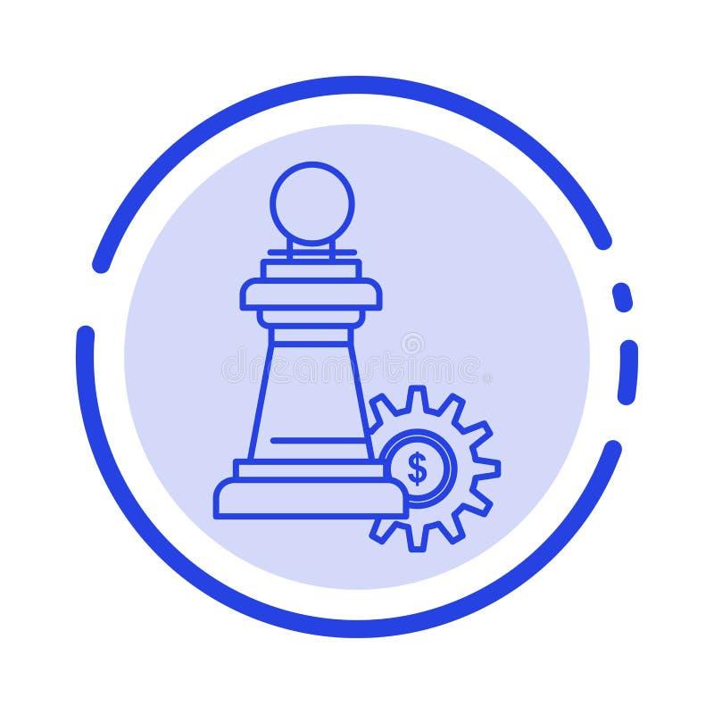 棋,事务,战略,成功蓝色虚线线象 皇族释放例证