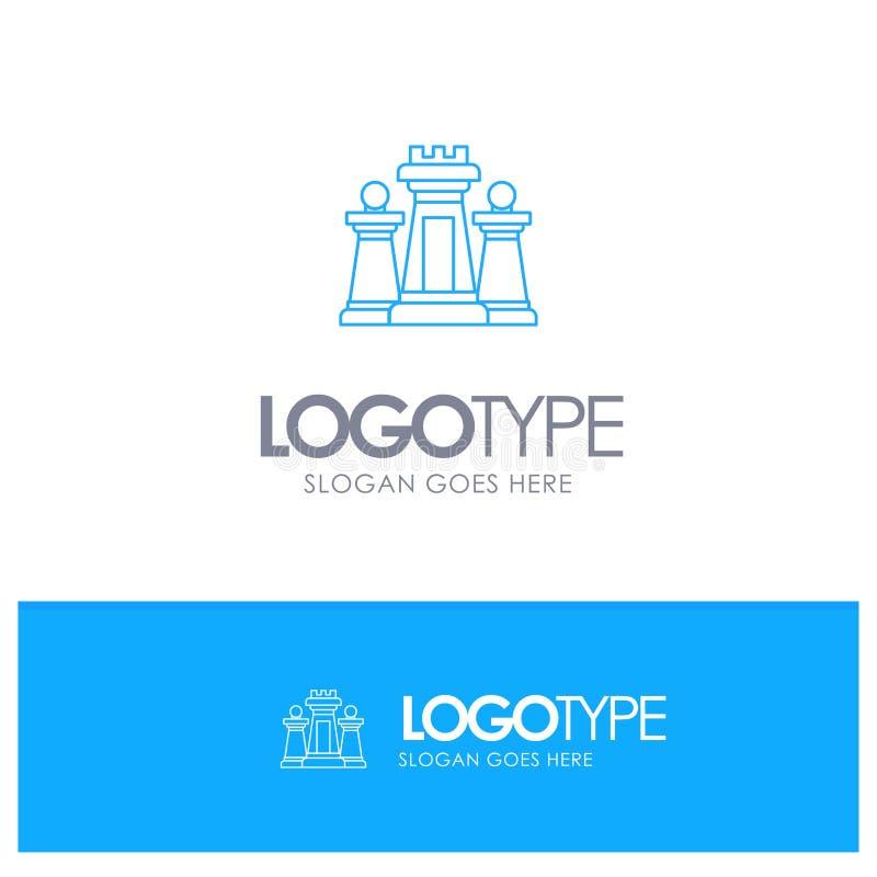 棋,计算机,战略,战术,与地方的技术蓝色概述商标口号的 皇族释放例证