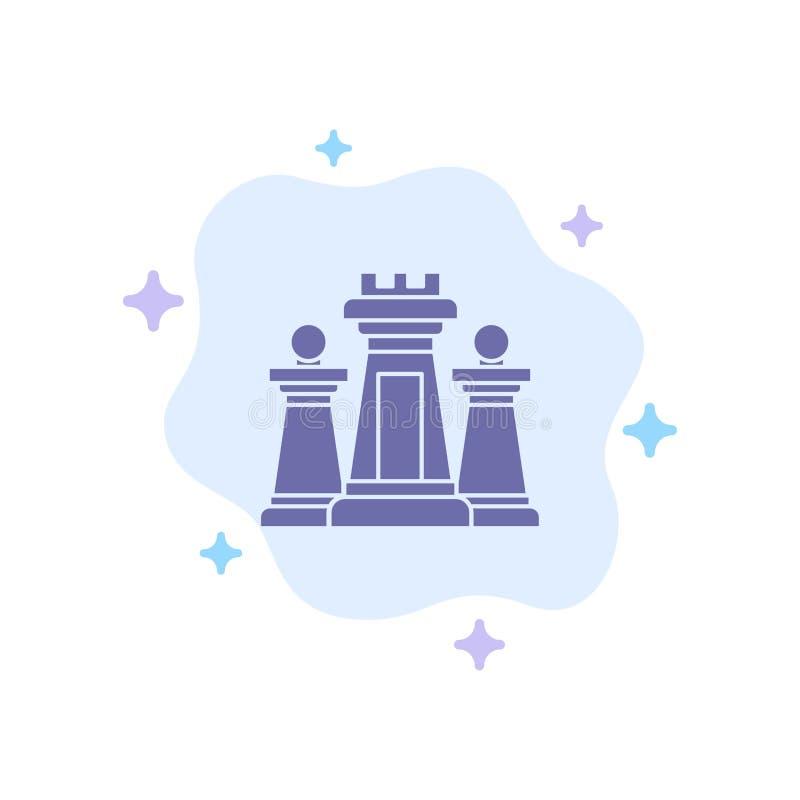棋,计算机,战略,战术,在抽象云彩背景的技术蓝色象 库存例证