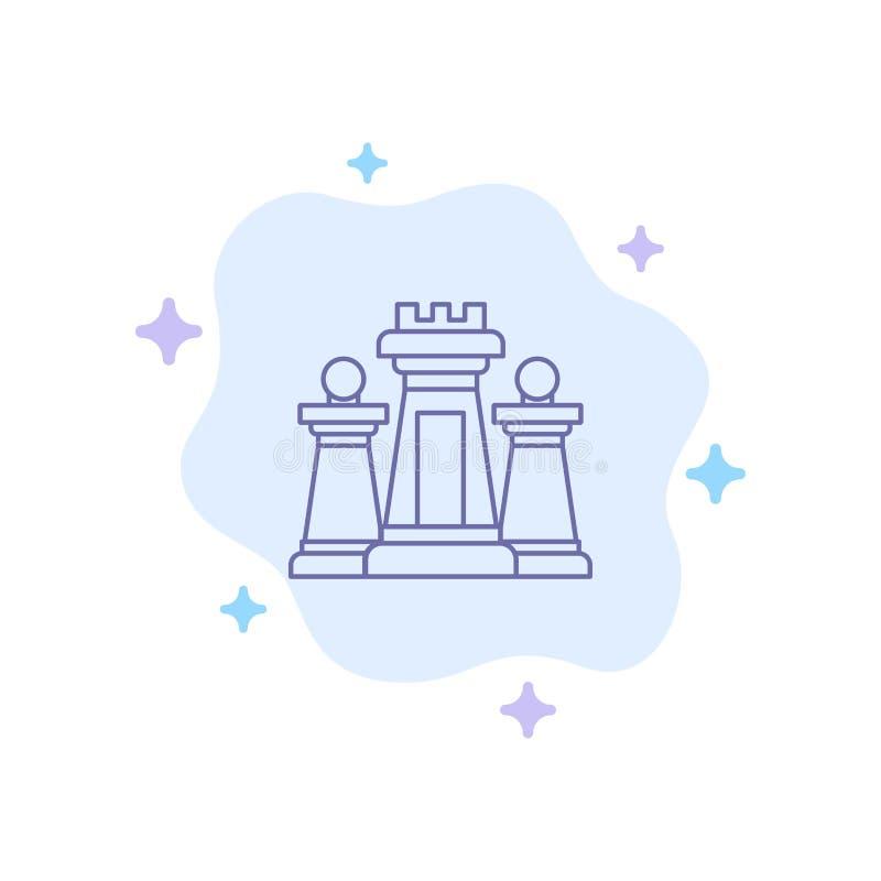 棋,计算机,战略,战术,在抽象云彩背景的技术蓝色象 皇族释放例证