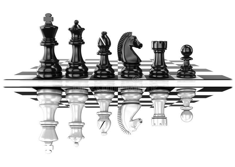 棋黑白片断,在船上站立,被反映 免版税库存图片