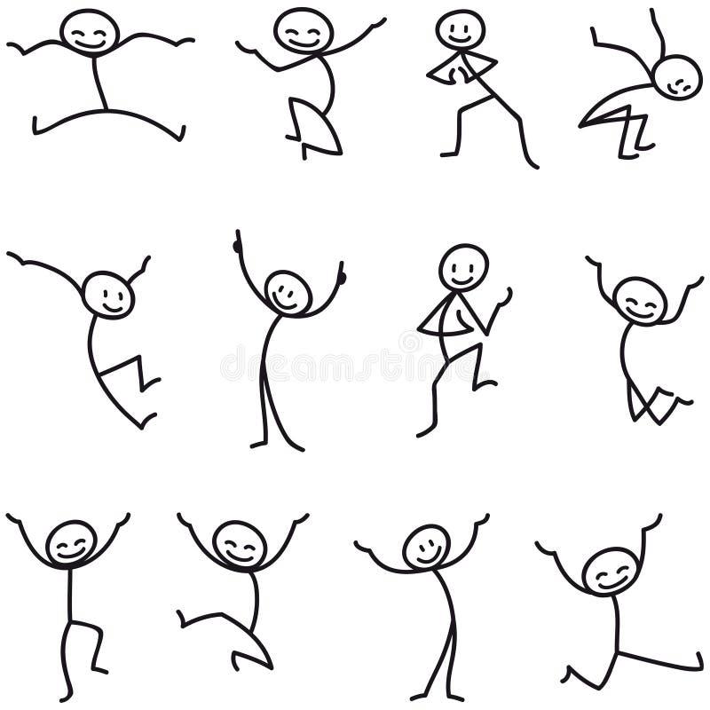 棍子人棍子形象愉快跳跃的庆祝 向量例证