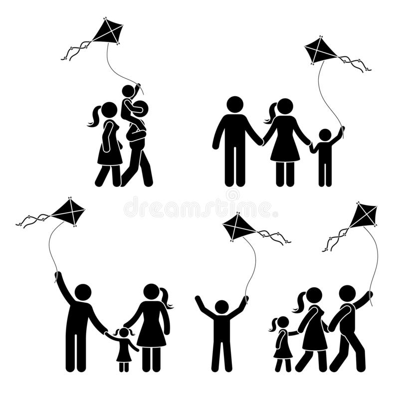 棍子形象与风筝象集合的愉快的活跃家庭 花费时间室外图表的人们 向量例证