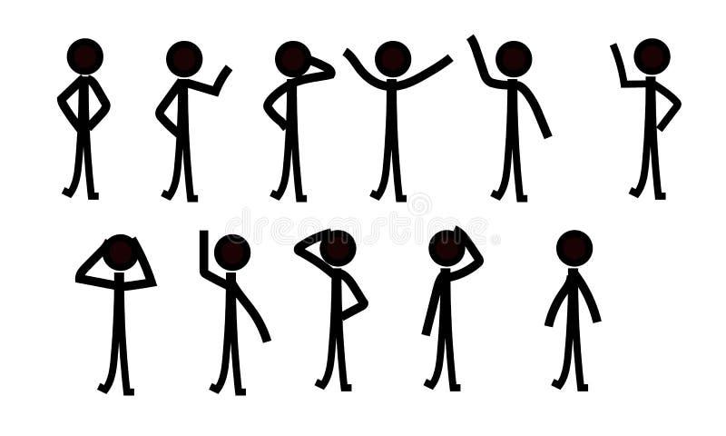 棍子形象人象形文字,不同的姿势 向量例证