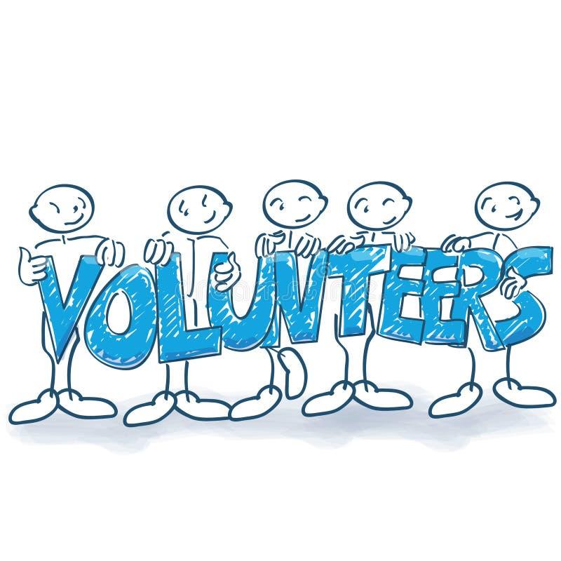 棍子形象作为志愿者 库存例证
