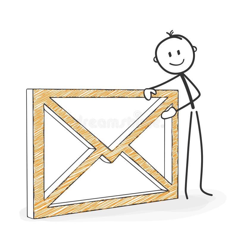 棍子形象动画片-与信封象的Stickman 象征性 库存例证