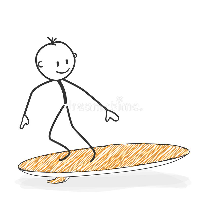 棍子形象动画片-在冲浪板象的Stickman 向量例证