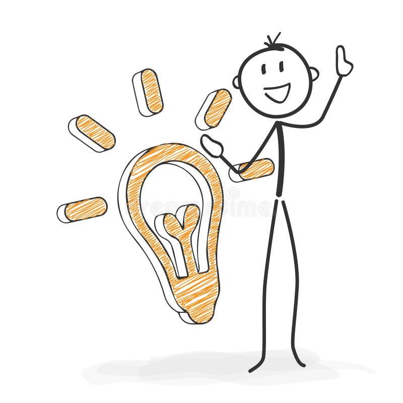 棍子形象动画片- Stickman有一个想法 向量例证