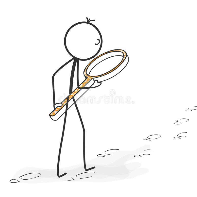 棍子形象动画片- Stickman跟随了脚印与扩大化 向量例证
