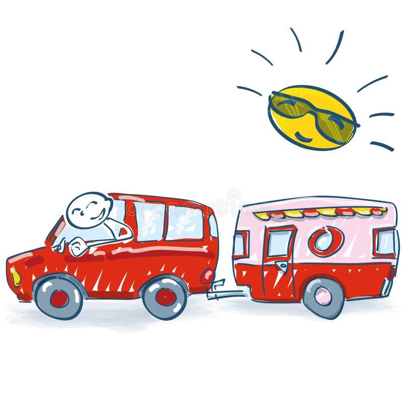 棍子形象去休假与有蓬卡车 向量例证