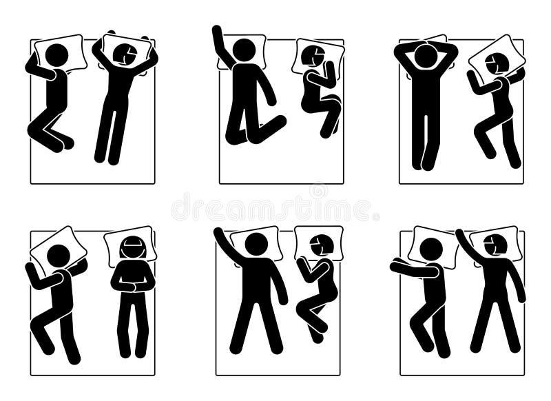 棍子形象放置在床位置集合的男人和妇女 不同的睡觉姿势 皇族释放例证
