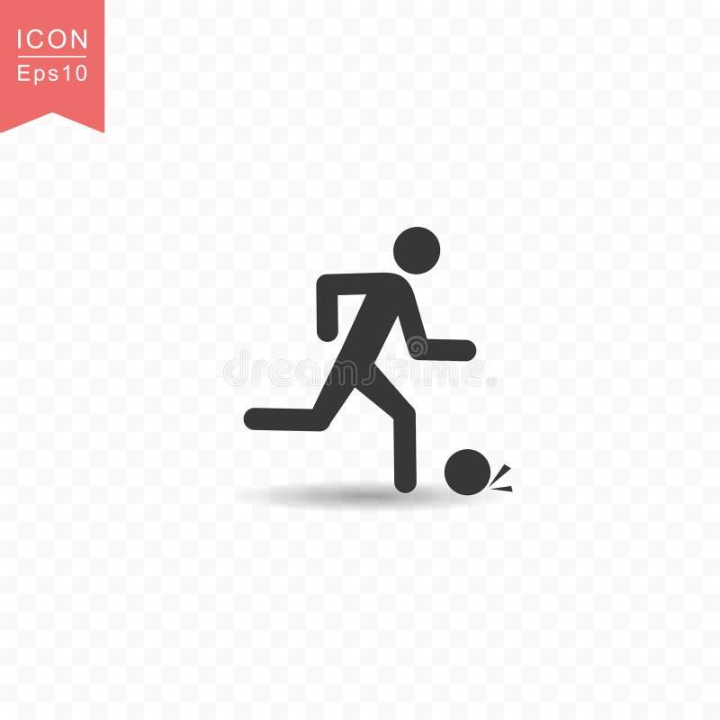 棍子形象演奏橄榄球或足球剪影象简单的平的样式传染媒介例证的一个人在透明背景 向量例证