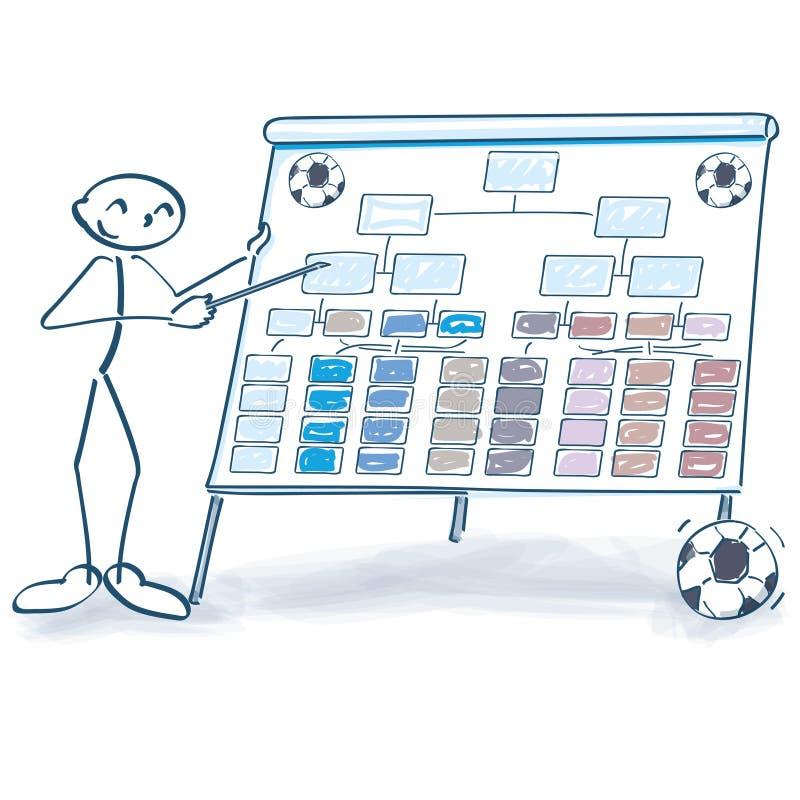 棍子形象解释足球桌 库存例证