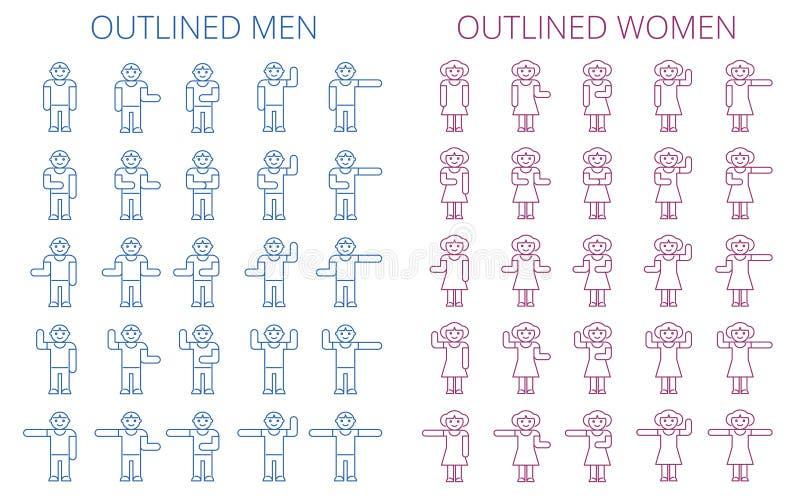 棍子形象象集合 男人和妇女被概述的图表  库存例证