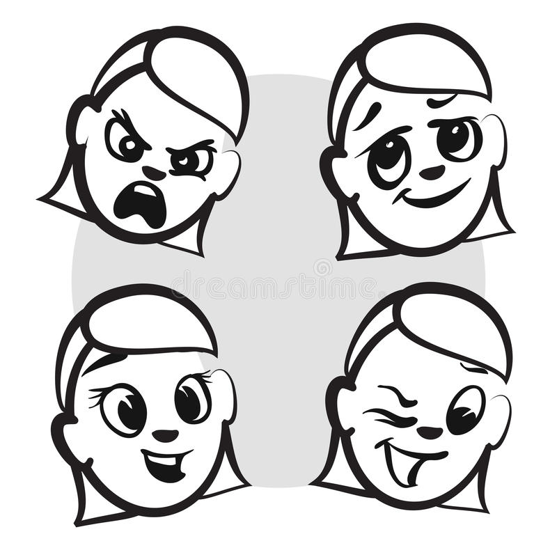 棍子形象系列情感-四张面孔 库存例证