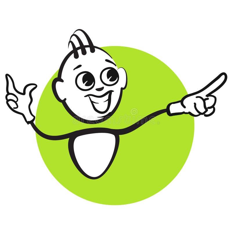 棍子形象系列情感-退色的绿色 皇族释放例证