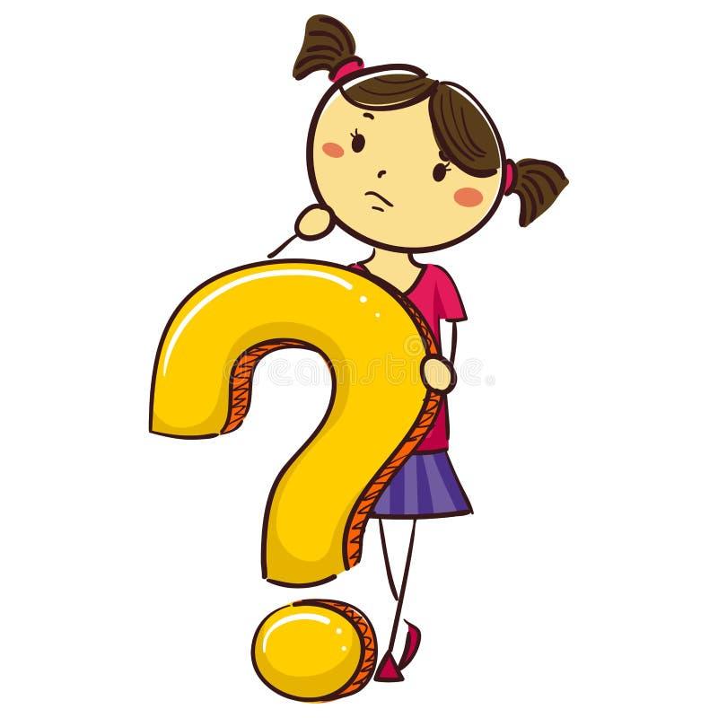 有问号标志的孩子女孩 库存例证. 插画 包括有 选件类图片