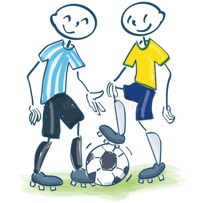 棍子计算当黄色和蓝色的足球运动员 皇族释放例证