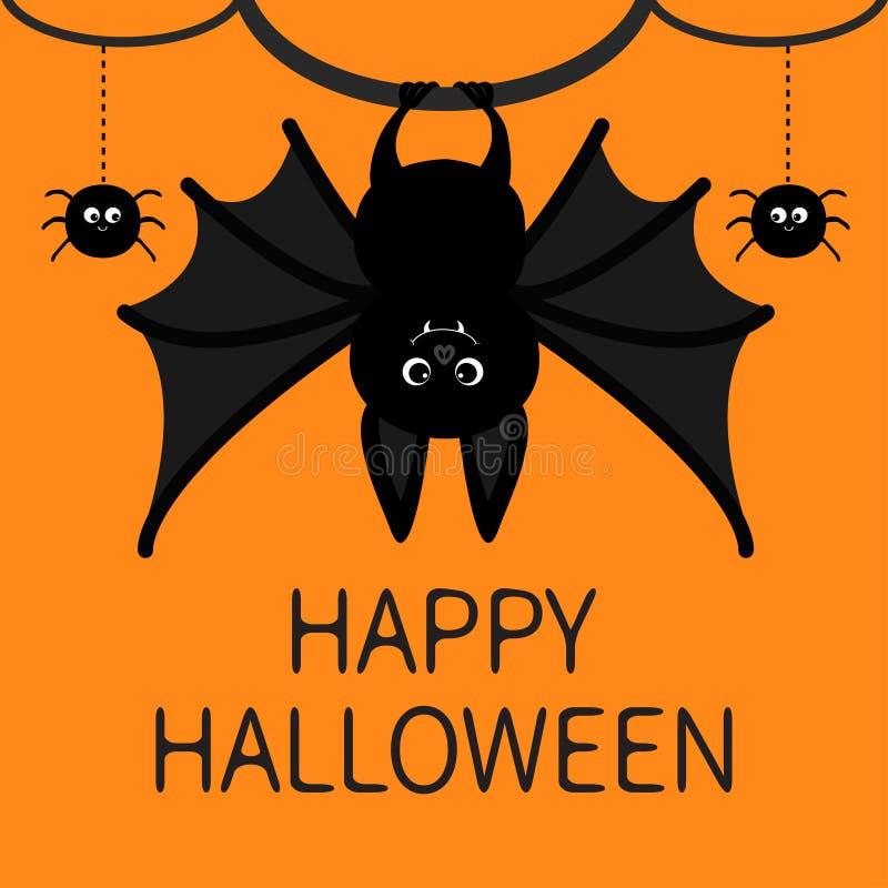 棒垂悬 蜘蛛破折号线网 看板卡愉快的万圣节 与大翼、耳朵和腿的逗人喜爱的漫画人物 投反对票 库存例证