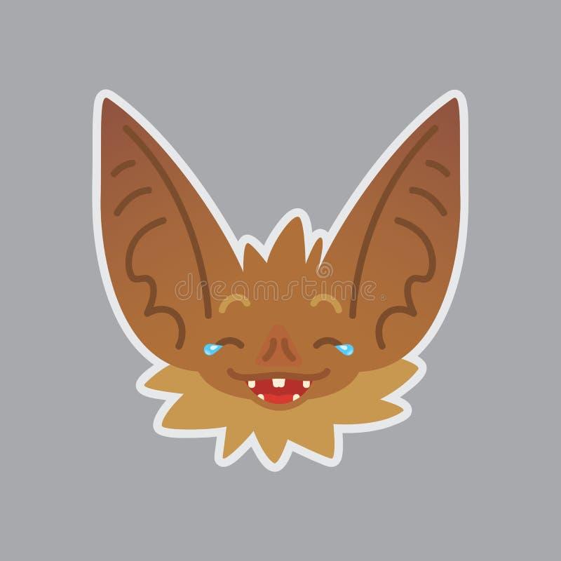 棒情感头 棒有耳的棕色生物的传染媒介例证显示乐趣情感 笑话emoji 图标面带笑容 皇族释放例证
