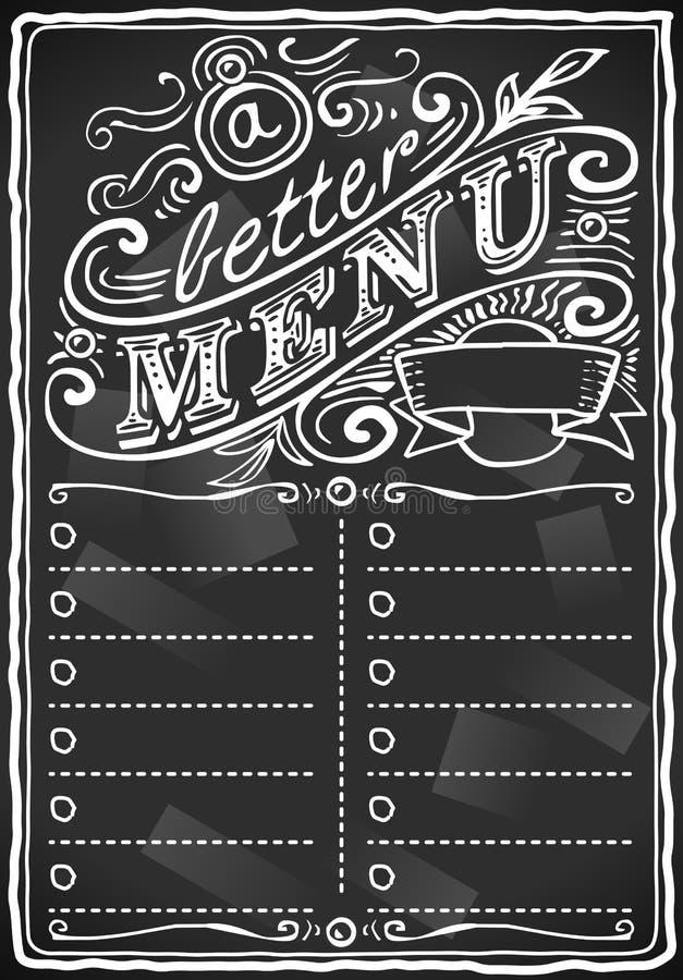 棒或餐馆的葡萄酒图象黑板菜单 库存例证