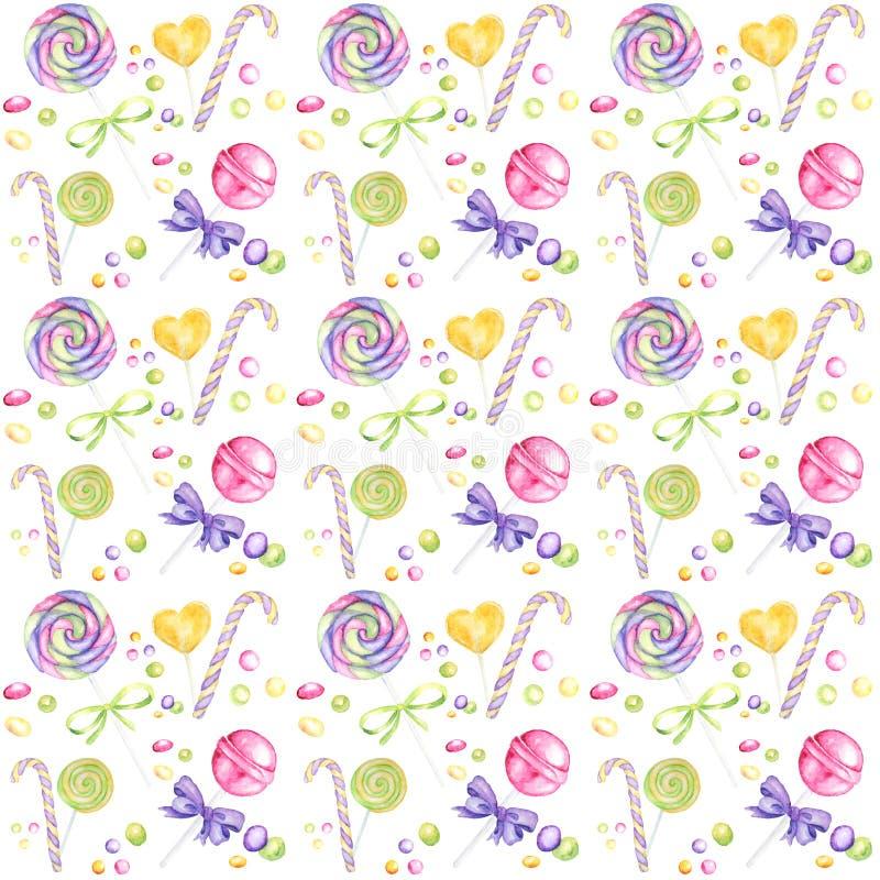 棒棒糖手拉的水彩样式、棒棒糖和紫色弓明亮的颜色-,在白色的绿色,黄色剪贴薄纸 皇族释放例证