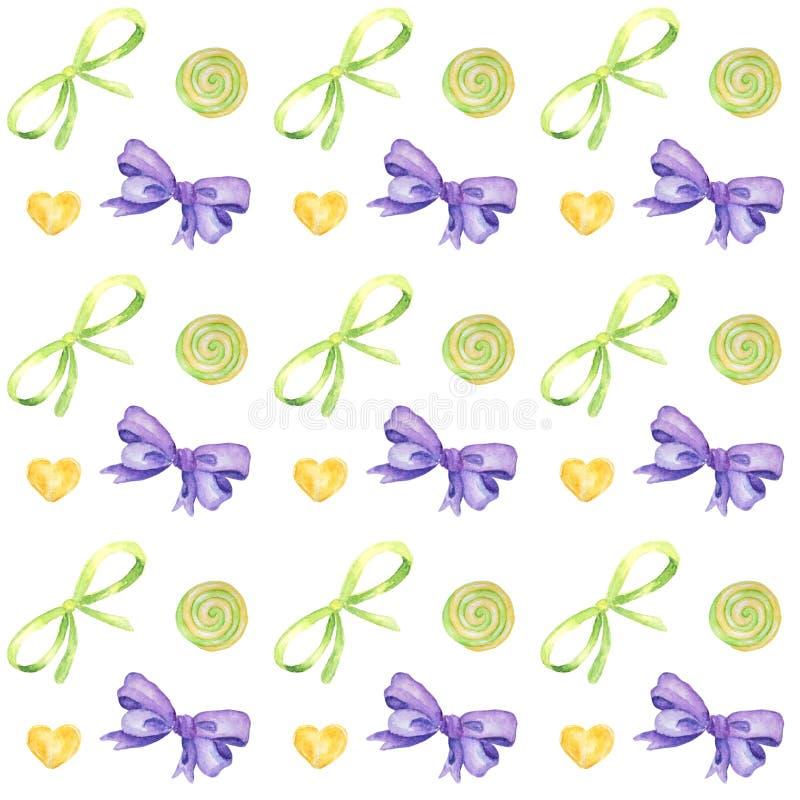 棒棒糖手拉的水彩样式、棒棒糖和紫色弓明亮的颜色-,在白色的绿色,黄色剪贴薄纸 库存例证