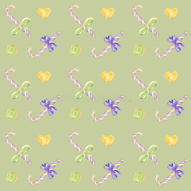棒棒糖手拉的水彩样式、棒棒糖和紫色弓明亮的颜色-,在绿色的绿色,黄色剪贴薄纸 库存例证