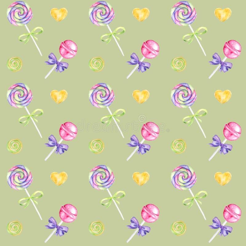棒棒糖手拉的水彩样式、棒棒糖和紫色弓明亮的颜色-,在绿色的绿色,黄色剪贴薄纸 向量例证