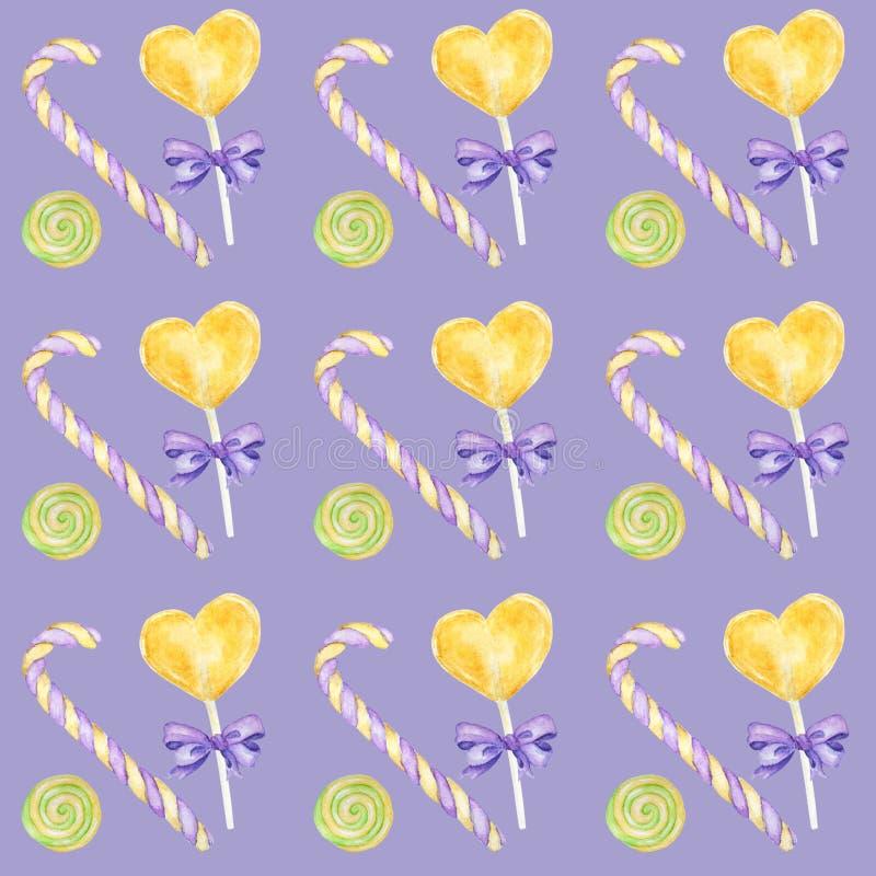 棒棒糖手拉的水彩样式、棒棒糖和紫色弓明亮的颜色-,绿色,黄色剪贴薄纸 皇族释放例证