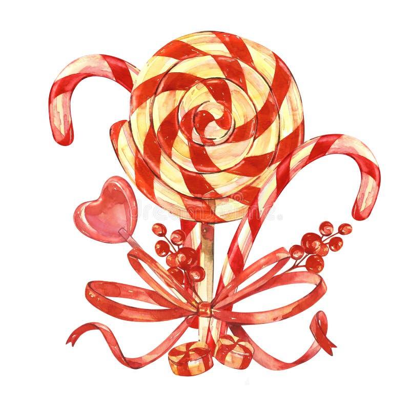 棒棒糖用圣诞节棍子,与弓的莓果花束  背景查出的白色 画手工纸的丙烯酸酯的颜色 库存例证