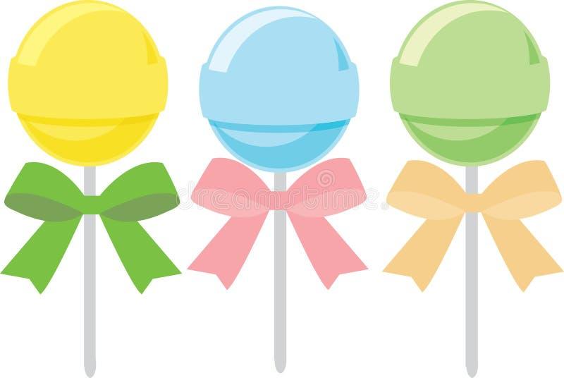 棒棒糖,甜点,糖果 向量例证