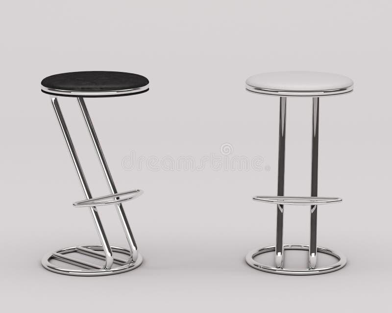 棒椅子黑白的皮革 免版税图库摄影