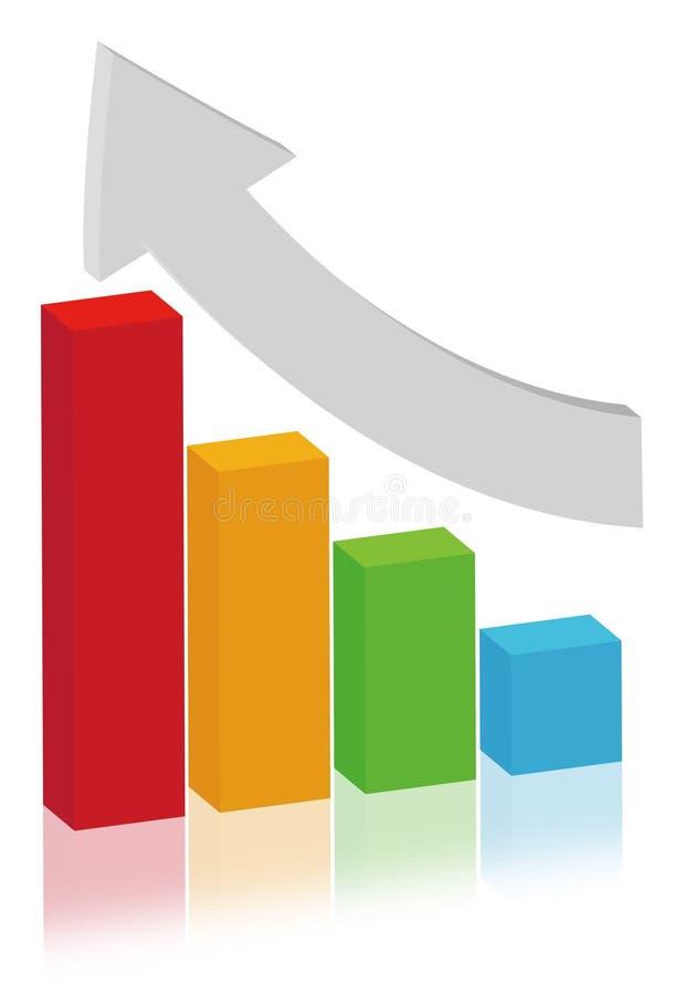 棒概念多色绘制的财务 库存例证