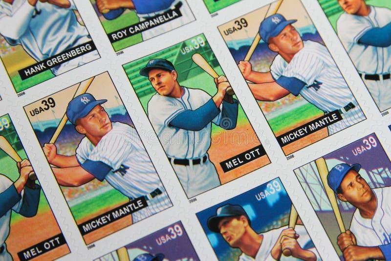 棒球传奇美国邮票 免版税库存照片