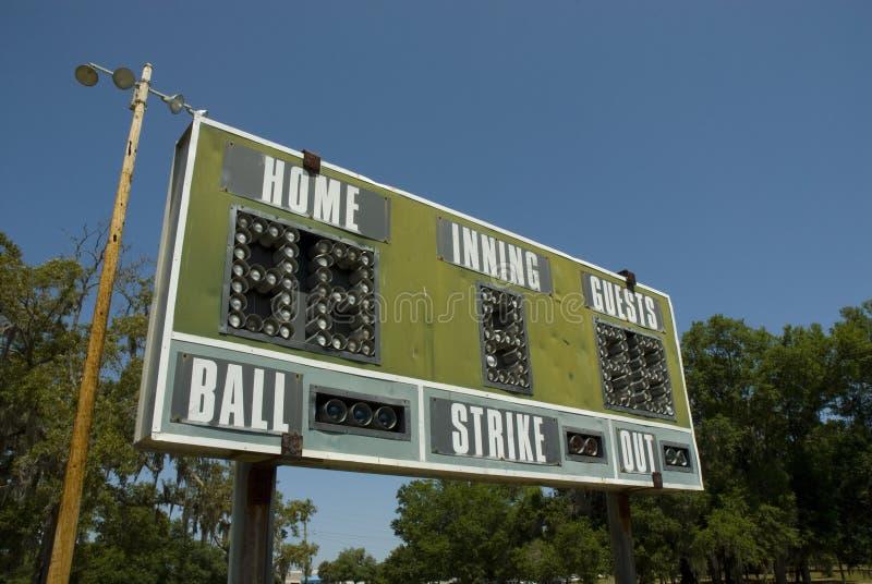 棒球减速火箭的记分牌 免版税库存图片