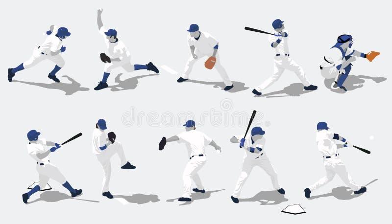 棒球剪影 向量例证