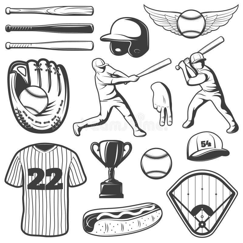 棒球单色元素集 向量例证