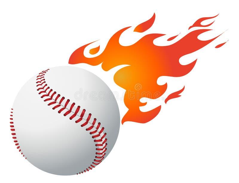 棒球发火焰向量 库存例证