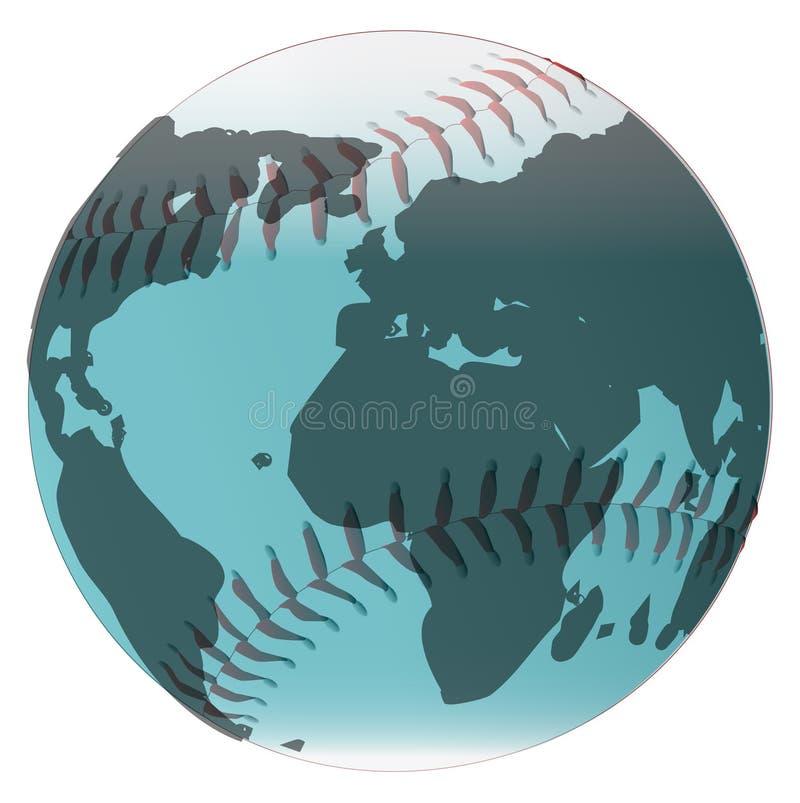 棒球和地球 向量例证