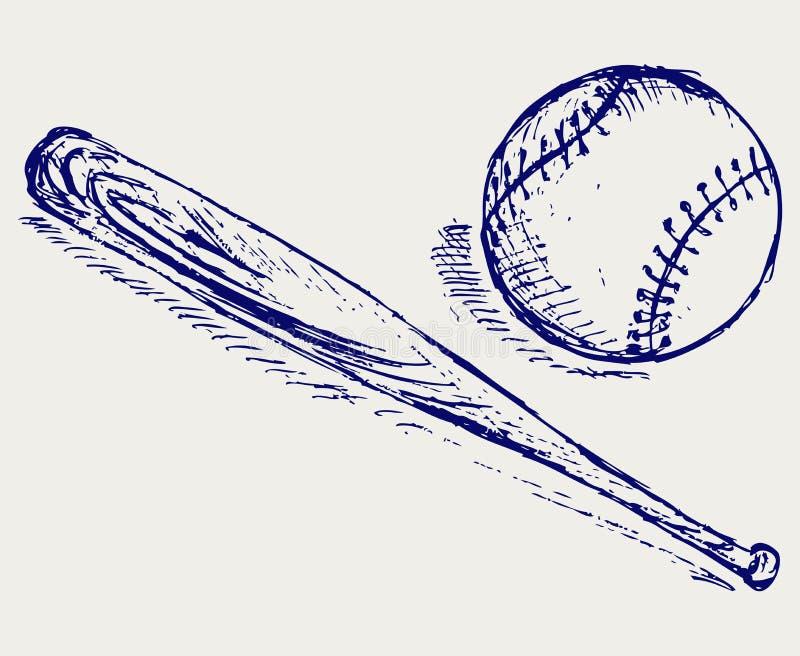棒球和棒 皇族释放例证