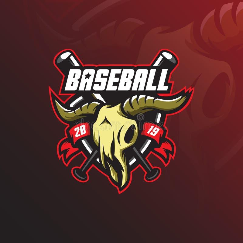 棒球商标吉祥人与现代例证概念样式的设计传染媒介徽章、象征和T恤杉打印的 水池 皇族释放例证