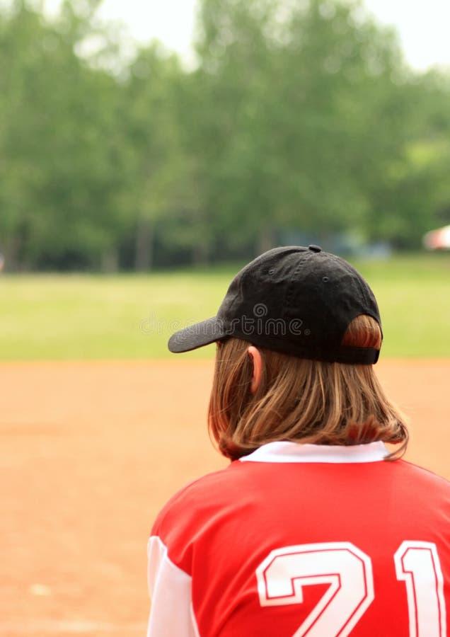 棒球女孩 免版税图库摄影