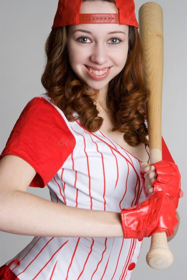 棒球女孩 免版税库存图片