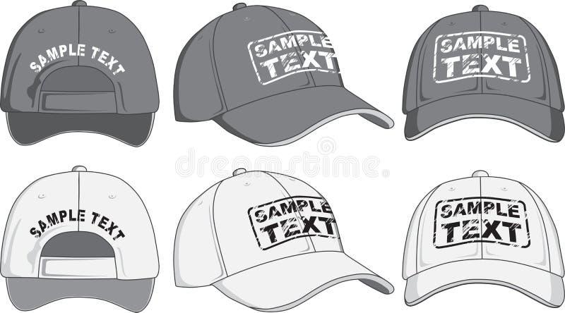 棒球帽、前面、后面和侧视图 向量 库存例证